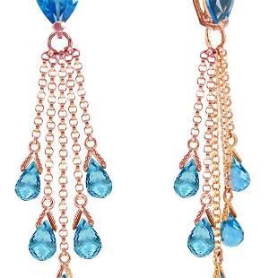 Genuine 15.5 ctw Blue Topaz Earrings 14KT Rose Gold