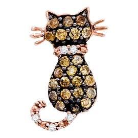 Kitty Cat Feline Pendant 1/3 Cttw 10KT Rose Gold