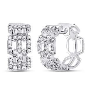 Baguette Diamond Link Huggie Earrings 3/4 Cttw 14KT