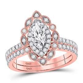 Bridal Wedding Ring Band Set 1-1/4 Cttw 14KT Rose Gold