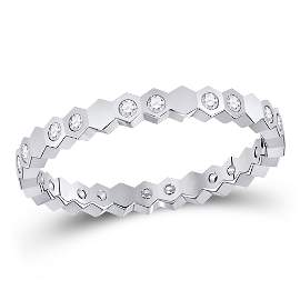 Round Diamond Machine-Set Band Ring 1/5 Cttw 14KT White