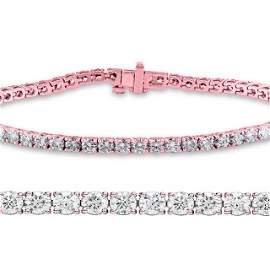 Natural 2ct VS2-SI1 Diamond Tennis Bracelet 14K Rose