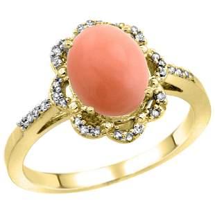 0.10 CTW Diamond & Natural Coral Ring 10K Yellow Gold -