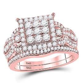 Diamond Bridal Wedding Ring Band Set 1 Cttw 14KT Rose
