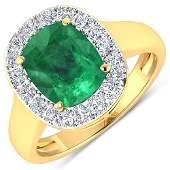 Natural 3.01 CTW Zambian Emerald & Diamond Ring 14K
