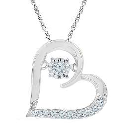 Moving Twinkle Round Diamond Heart Pendant 1/8 Cttw