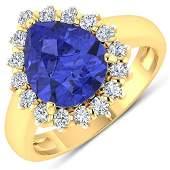 Natural 3.73 CTW Tanzanite & Diamond Ring 14K Yellow