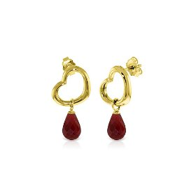Genuine 6.6 ctw Ruby Earrings 14KT Yellow Gold