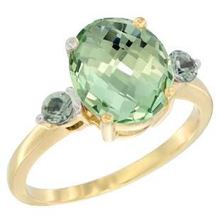 2.64 CTW Amethyst & Green Sapphire Ring 14K Yellow Gold