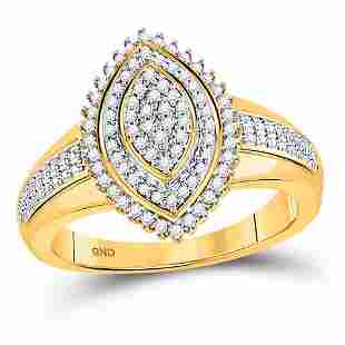 Round Diamond Marquise-shape Cluster Ring 1/4 Cttw 10KT
