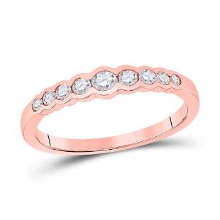 Round Diamond Stackable Band Ring 1/3 Cttw 10KT Rose
