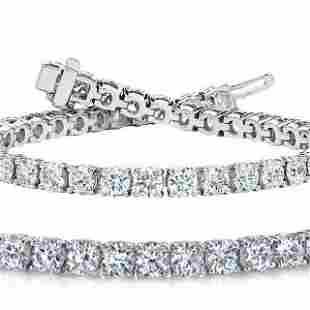 Natural 7ct VS2-SI1 Diamond Tennis Bracelet 18K White