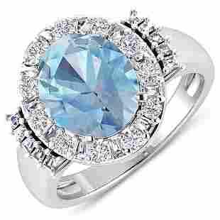 Natural 3.53 CTW Aquamarine & Diamond Ring 14K White