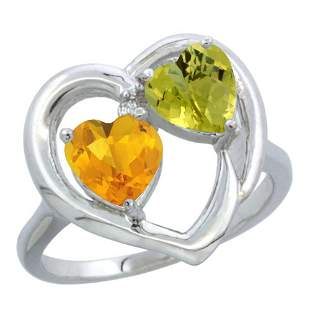 2.61 CTW Diamond, Citrine & Lemon Quartz Ring 10K White