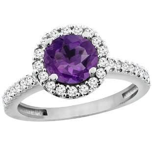 1.13 CTW Amethyst & Diamond Ring 10K White Gold