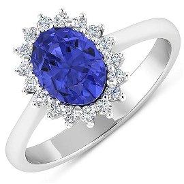 Natural 1.82 CTW Tanzanite & Diamond Ring 14K White