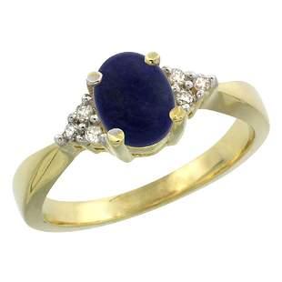 0.81 CTW Lapis Lazuli & Diamond Ring 14K Yellow Gold