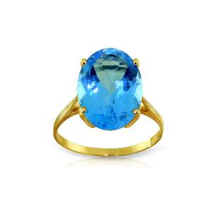 Genuine 8 ctw Blue Topaz Ring 14KT Yellow Gold