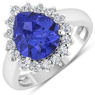 Natural 3.73 CTW Tanzanite & Diamond Ring 14K White