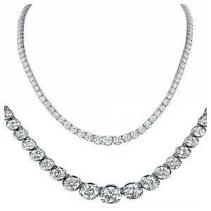 Natural 9.04CTW VS2/I-J Diamond Tennis Necklace 18K