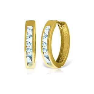 Genuine 1.20 ctw Aquamarine Earrings 14KT Yellow Gold