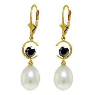 Genuine 9 ctw Pearl & Black Diamond Earrings 14KT