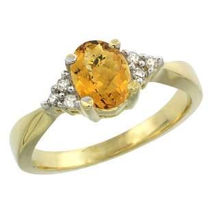 1.06 CTW Quartz & Diamond Ring 10K Yellow Gold