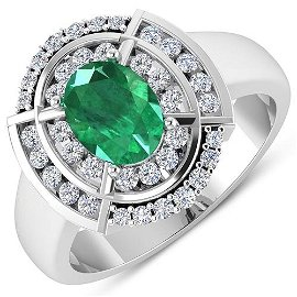 Natural 2.67 CTW Zambian Emerald & Diamond Ring 14K