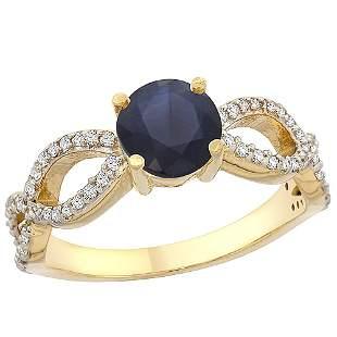 1.30 CTW Blue Sapphire & Diamond Ring 10K Yellow Gold