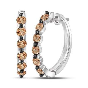 Round Brown Diamond Hoop Earrings 1 Cttw 10KT White