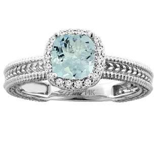 1.32 CTW Aquamarine & Diamond Ring 14K White Gold