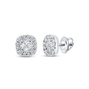 Princess Round Diamond Square Cluster Earrings 1/4 Cttw