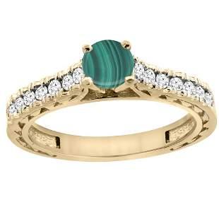 1.66 CTW Malachite & Diamond Ring 14K Yellow Gold