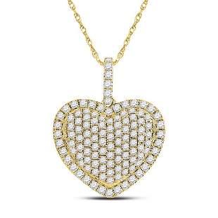 Round Diamond Heart Pendant 1-1/4 Cttw 14KT Yellow Gold