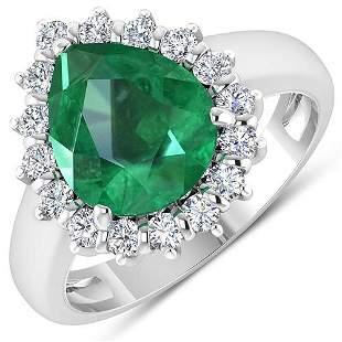 Natural 3.33 CTW Zambian Emerald & Diamond Ring 14K