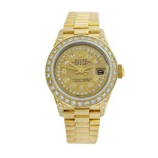 Rolex Pre-owned 26mm Womens String Champagne 18K Gold