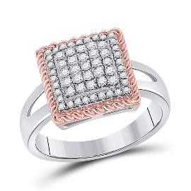 Round Diamond Rope Square Cluster Ring 1/3 Cttw 10KT