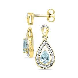 Pear Lab-Created Aquamarine Dangle Earrings 5/8 Cttw