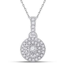 Round Diamond Circle Pendant 1/6 Cttw 10KT White Gold
