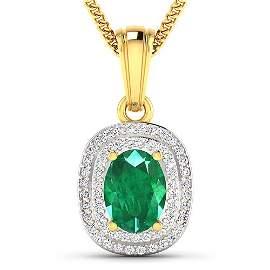 Natural 2.46 CTW Zambian Emerald & Diamond Pendant 14K