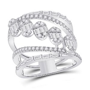 Baguette Diamond Spiral Cluster Fashion Ring 1-3/8 Cttw