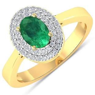 Natural 0.78 CTW Zambian Emerald & Diamond Ring 14K
