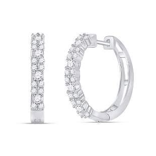 Round Diamond Hoop Earrings 3/4 Cttw 14KT White Gold