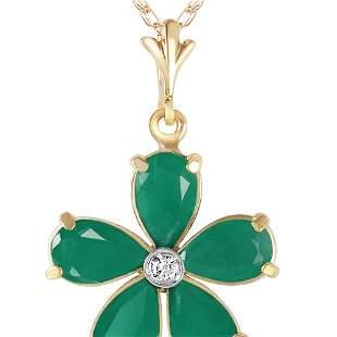 Genuine 2.22 ctw Emerald & Diamond Necklace 14KT Yellow