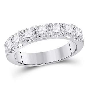 Round Diamond Single Row Band Ring 1 Cttw 14KT White