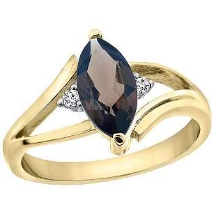 1.24 CTW Quartz & Diamond Ring 14K Yellow Gold -