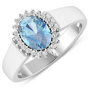 Natural 2.2 CTW Aquamarine & Diamond Ring 14K White