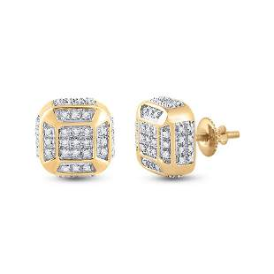 Round Diamond Cushion Cluster Earrings 1/4 Cttw 10KT