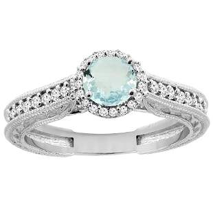 0.99 CTW Aquamarine & Diamond Ring 14K White Gold -
