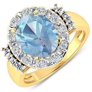 Natural 3.53 CTW Aquamarine & Diamond Ring 14K Yellow